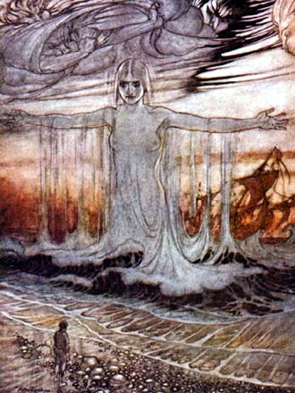 The Shipwrecked Man and the Sea, by Arthur Rackham
