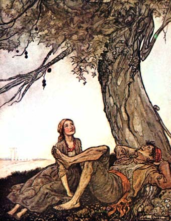 The Travellers and the Plane-Tree, by Arthur Rackham