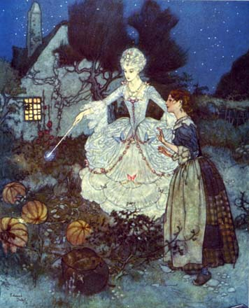 Cinderalla with her fairy godmother, by Edmund Dulac