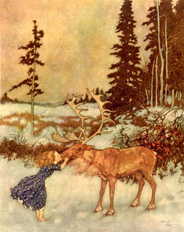 Gerda and the reindeer, by Edmund Dulac