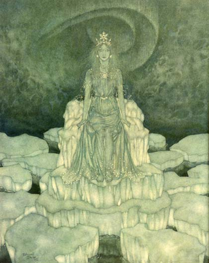 The Snow Queen in her crystal palace, by Edmund Dulac
