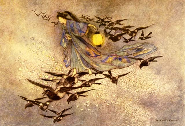 The Weaving Maiden walking on a bridge of Magpies to meet her lover, by Warwick Goble