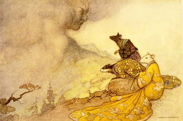 The Rat offering his daughter's hand to the Cloud, by Warwick Goble